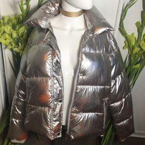 VIGOSS Puffer Jacket Silver Metallic GUC Sz Small